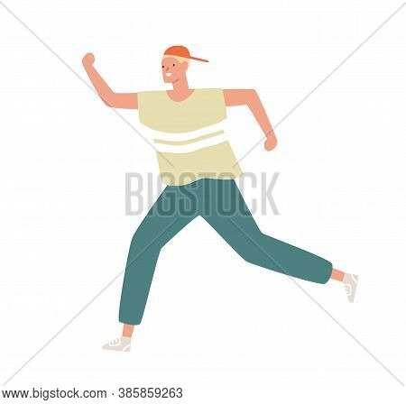 Funny Male Teenager In Cap And Sportswear Running Or Moving Fast Vector Flat Illustration. Smiling B