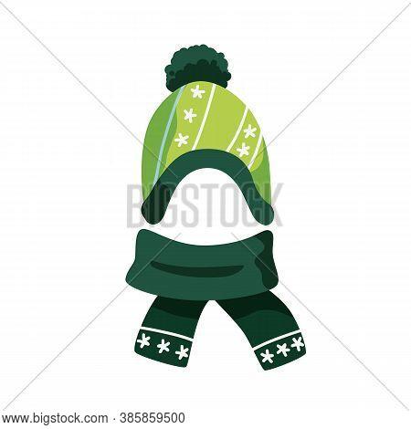 Cute Green Childish Bobble Hat And Scarf Vector Flat Illustration. Woolen Warm Seasonal Headdress Wi