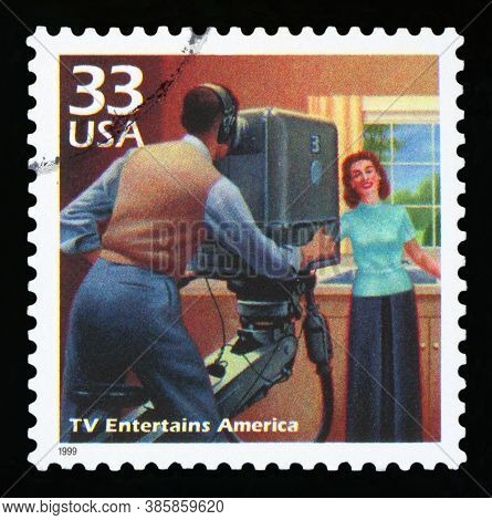 United States Of America - Circa 1999: A Postage Stamp Printed In Usa Showing An Image Of The Fiftie