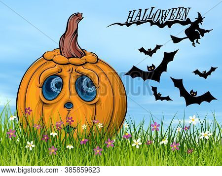 Sad Halloween Pumpkin Face On The Grass Next To Bats And Witch By Beautiful Day - 3d Render