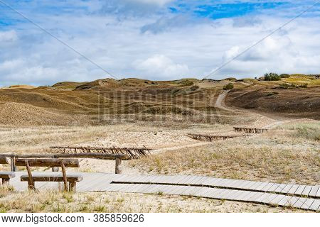 Wooden Bench And Path In Nagliai Nature Reserve In Neringa, Lithuania. Dead Dunes, Sand Hills Built