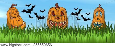 Halloween Pumpkin Faces On The Grass Next To Bats By Beautiful Day - 3d Render