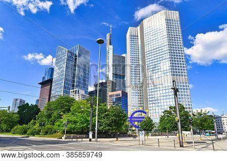Frankfurt Am Main, Germany - June 2020: Financial Business District With Modern Skyscraper Bank Head