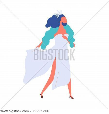 Homosexual Bearded Male Walking In Elegant Evening Dress Vector Flat Illustration. Man Transgender W
