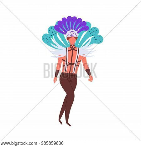 Lgbt Man In Costume With Bright Feather And Leather Bdsm Suspender Vector Flat Illustration. Homosex