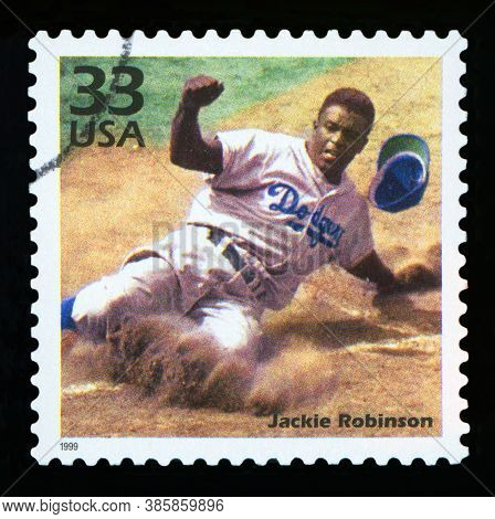 United States Of America - Circa 1999: A Postage Stamp Printed In Usa Showing An Image Of Jackie Rob