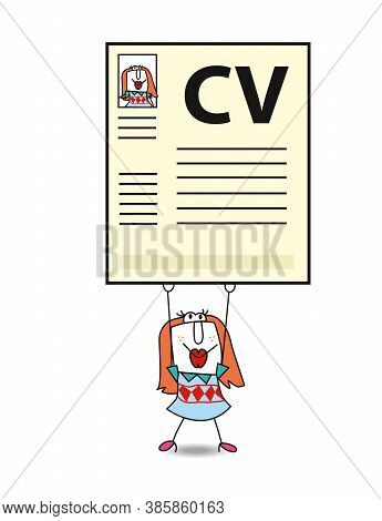 Diana Is Looking For A Job. She Is Holding A Giant Curriculum Vitae