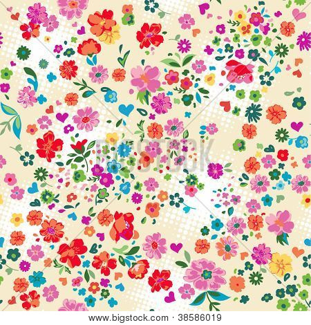 seamless colorful ditsy floral