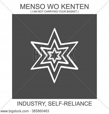 Vector Icon With African Adinkra Symbol Menso Wo Kenten. Symbol Of Industry And Self Reliance
