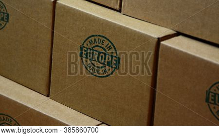Made In Europe, Eu, European Union Stamp Printed On Cardboard Box. Factory, Manufacturing And Produc