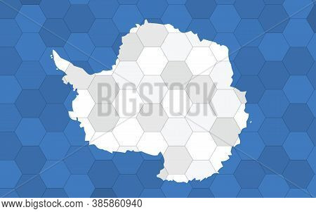 Antarctica Flag Illustration. Futuristic Antarctican Flag Graphic With Abstract Hexagon Background V