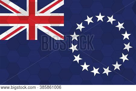 Cook Islands Flag Illustration. Futuristic Cook Islander Flag Graphic With Abstract Hexagon Backgrou