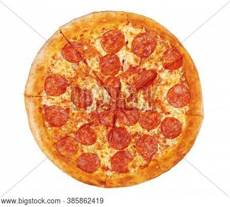 Fresh Italian Classic Pepperoni Pizza Isolated On White Background
