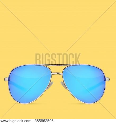 Sunglasses With Blue Lens Over Yellow Background