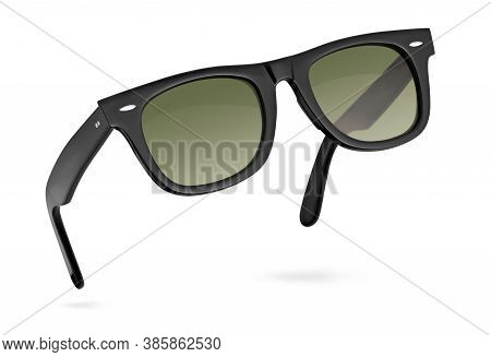 Black Sunglasses Isolated On White Background With Clipping Path