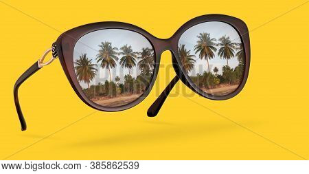 Retro Sunglasses With Reflection Of Palms Isolated