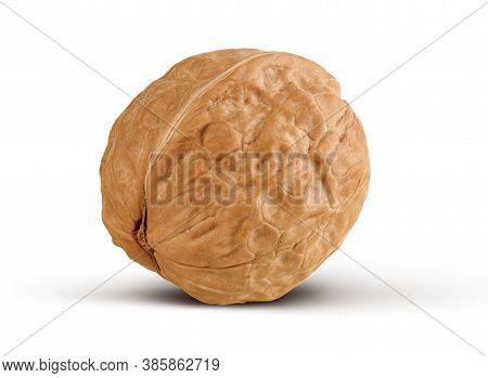 Whole Walnut Isolated On White Background