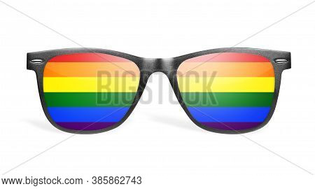 Rainbow Reflection In Aviator Sunglasses Isolated On White
