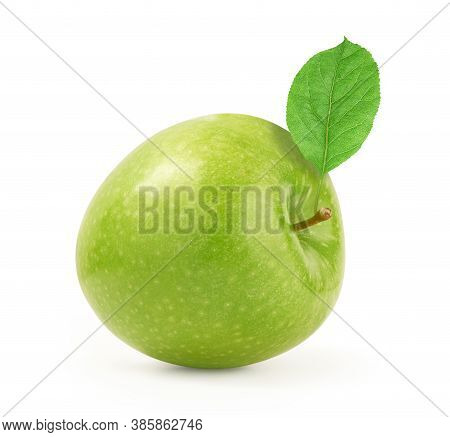 Ripe Green Apple With Leaf Isolated On A White Background