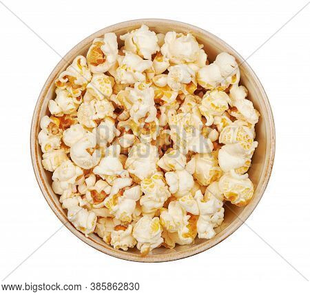 Popcorn In A Bowl Viewed From Above. Isolated On White
