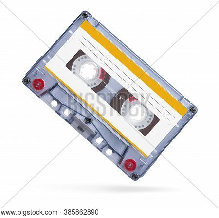 Old Audio Tape Compact Cassette Isolated On White
