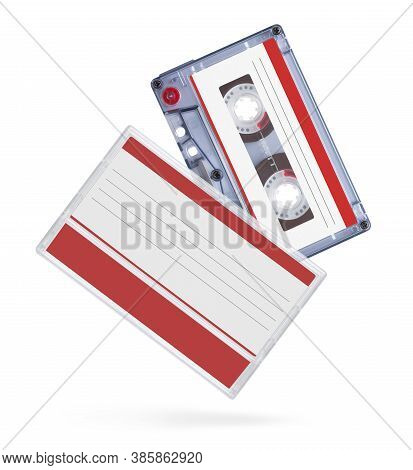 Old Audio Tape Compact Cassette With Box Isolated