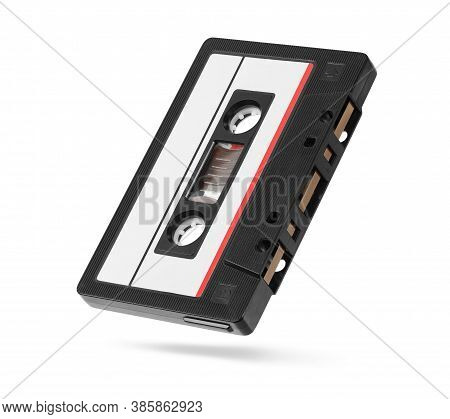 Old Autio Tape Compact Cassette With Blank Tag Isolated On White
