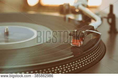 Turntable Is Playing Vinyl Lp Record