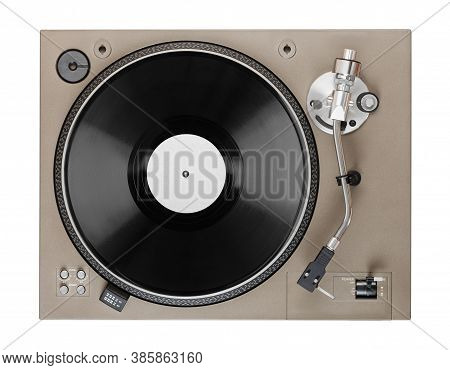 Old Turntable With Lp Vinyl Record Top View. Clipping Path.