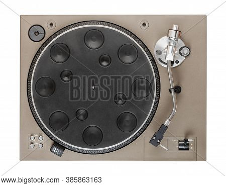 Old Turntable Top View With Clipping Path