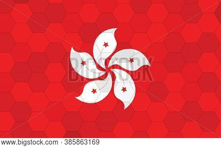 Hong Kong Flag Illustration. Futuristic Hongkonger Flag Graphic With Abstract Hexagon Background Vec