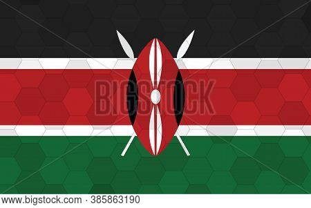 Kenya Flag Illustration. Futuristic Kenyan Flag Graphic With Abstract Hexagon Background Vector. Ken