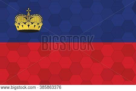 Liechtenstein Flag Illustration. Futuristic Liechtensteiner Flag Graphic With Abstract Hexagon Backg