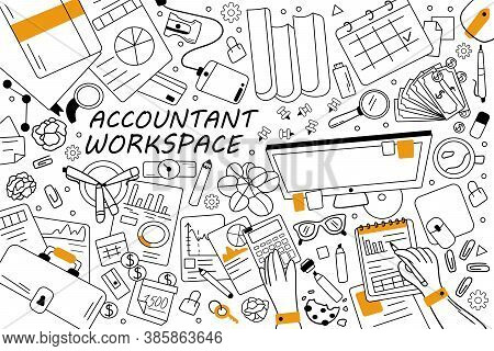 Accountant Workspace Doodle Set. Collection Of Hand Drawn Sketches Templates Patterns Of Finance Bus