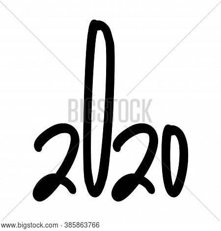 2020 Logo As A Hand Showing The Middle Finger Or Shit. Middle Finger Illustartion Hand Gesture. Funn