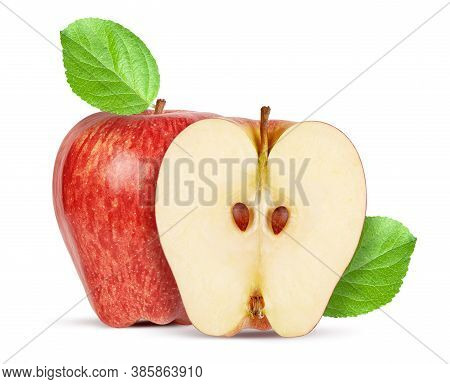Red Delicious Apple With Green Leaf Isolated