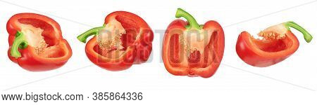 Sweet Red Pepper Slice Isolated On White With Clipping Path