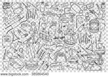 Stomatology Doodle Set. Collection Of Hand Drawn Sketches Templates Patterns Of Stomatological Equip