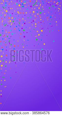 Festive Juicy Confetti. Celebration Stars. Festive Confetti On Violet Background. Good-looking Festi