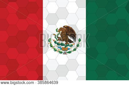Mexico Flag Illustration. Futuristic Mexican Flag Graphic With Abstract Hexagon Background Vector. M