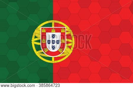 Portugal Flag Illustration. Futuristic Portugese Flag Graphic With Abstract Hexagon Background Vecto