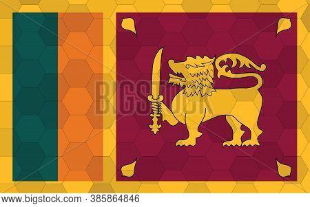 Sri Lanka Flag Illustration. Futuristic Sri Lankan Flag Graphic With Abstract Hexagon Background Vec