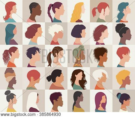 Avatar Set Portrait Collection Group Of Multiethnic Diversity Women And Girls Isolated. Different Na