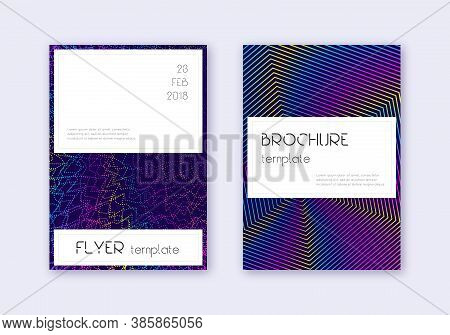 Stylish Cover Design Template Set. Rainbow Abstract Lines On Dark Blue Background. Fetching Cover De