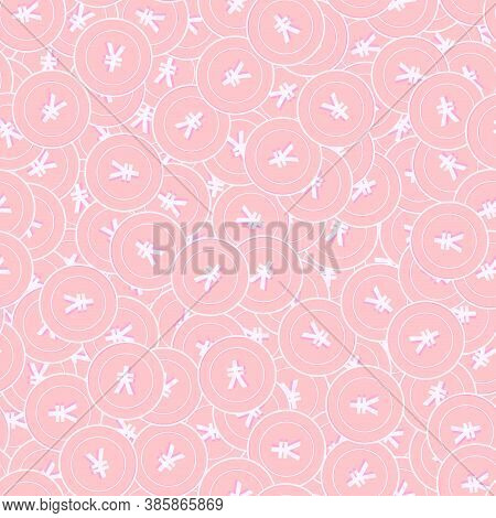 Chinese Yuan Copper Coins Seamless Pattern. Overwhelming Scattered Pink Cny Coins. Success Concept.