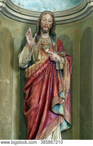 VRTACE, CROATIA - MAY 02, 2013: Sacred Heart of Jesus, altar in Holy Spirit Chapel in Vrtace, Croatia