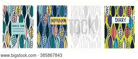 Cover Page Vector Templates Based On Seamless Patterns With Hand Drawn Tropical Leaves. Perfect For