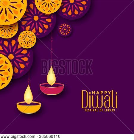 Beautiful Diwali Festival Decorative Background Design Vector Illustration