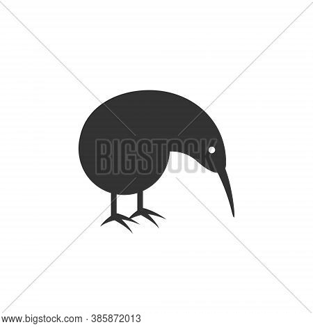 Kiwi Bird Logo Silhouette - Animal Bird Nature Wild Brown Flightless Feather Beak Zoo Cartoon Funny