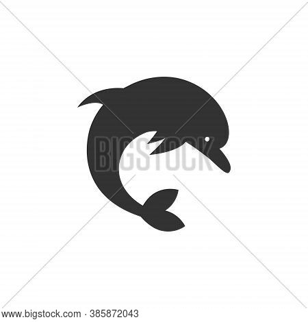 Dolphin Logo Silhouette Design - Sea Water Marine Mammal Animal Aquatic Life Underwater Fish Tropica
